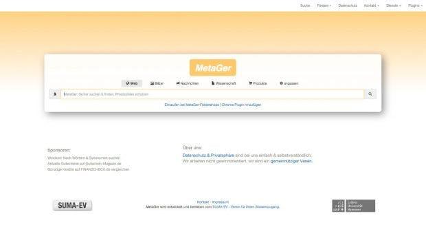 MetGer ist eine Meta-Suchmaschine aus Deutschland. (Screenshot: MetaGer.de)