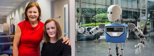 Der humanoide Roboter Nadine und seine Schöpferin. (Foto: NTU)