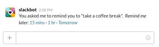 Sich per Slack erinnern zu lassen, nachmittags einen Kaffee zu trinken, ist nur eine von vielen Möglichkeiten, die Reminder-Funktion zu nutzen. (Screenshot: t3n, Slack)