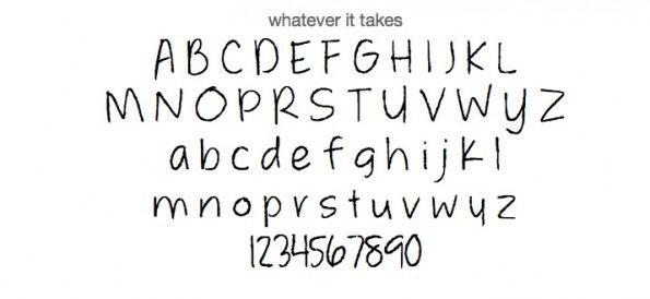 """Kostenlose Handschriften-Fonts: """"Whatever it Takes"""" ist für die private Nutzung freigegeben. (Screenshot: t3n.de)"""