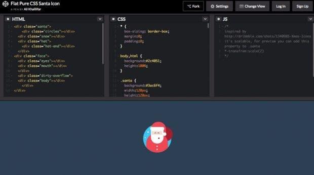 Nicht nur für WordPress-Nutzer interessant: Ein Weihnachtsmann aus purem CSS. (Screenshot: Codepen)