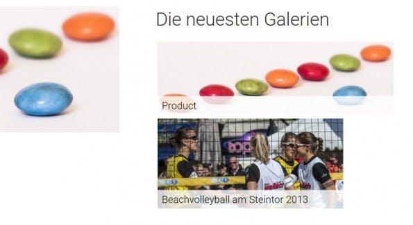 So könnte das Widget für die neuesten Galerien später in der Sidebar aussehen. (Screenshot: eigene Installation; Bilder: Dennis Brinkmann)