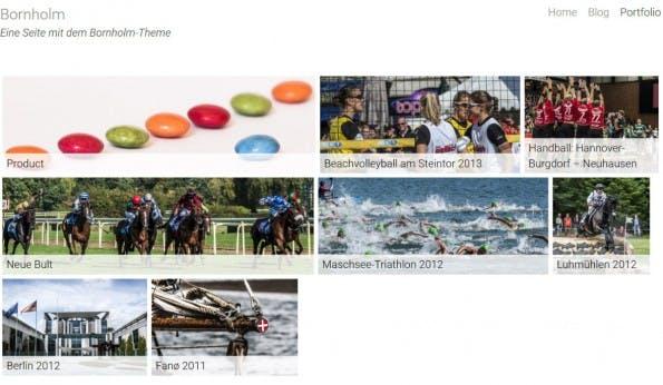 Die Portfolio-Seite des WordPress-Themes. (Screenshot: eigene Installation; Bilder: Dennis Brinkmann)