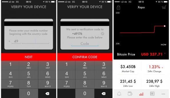 Nach Einrichtung und Verifizierung managed die Xapo App eine Wallet und den Vault – zweites und viertes Symbol unten. (Screenshot: Xapo)