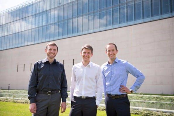 Die Magazino-Gründer, von links nach rechts: Nikolas Engelhard, Lukas Zanger und Frederik Brantner.(Foto: Magazino)