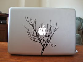 Winterlich: Das Apple-Logo hat sich im Baum verfangen. (Bild: Etsy)