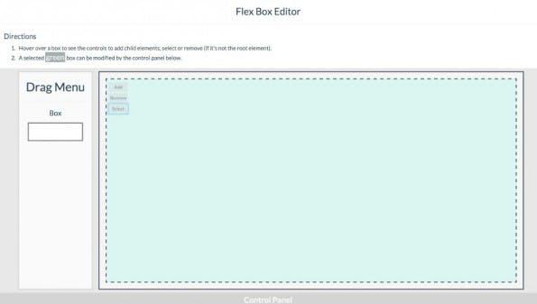 Ein einfacher Editor für den CSS-Layoutmodus Flexbox. (Screenshot: )