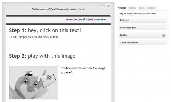 Ein Blick auf den Newsletter-Editor von MailPoet. (Screenshot: WordPress.org)