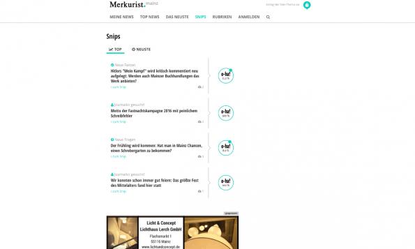 """Mit sogenannten """"Snips"""" können Leser eigenmächtig Themenvorschläge sowie multimediales Material zuliefern. Wird ein Thema gut bewertet, wird ein Journalist auf die Recherche angesetzt. (Screenshot: t3n)"""