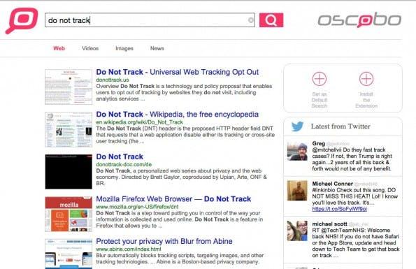 Neben den Suchergebnissen zeigt Oscobo auch Twitter-Resultate in der Sidebar an. (Screenshot: Oscobo)