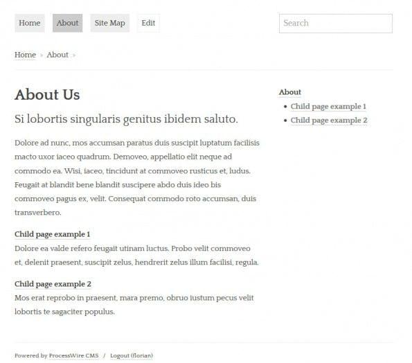 Die About-Seite im Frontend. (Screenshot: eigene Installation)