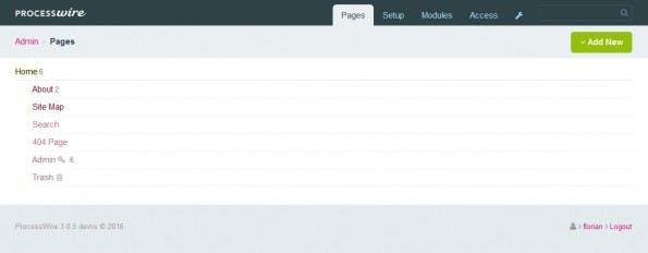 Die Ansicht des ProcessWire-Backends nach dem ersten Login mit den Beispiel-Seiten. (Screenshot: eigene Installation)