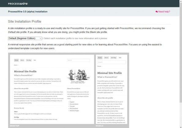 Auswahl der Websiteprofils für die ProcessWire-Installation. (Screenshot: eigene Installation)