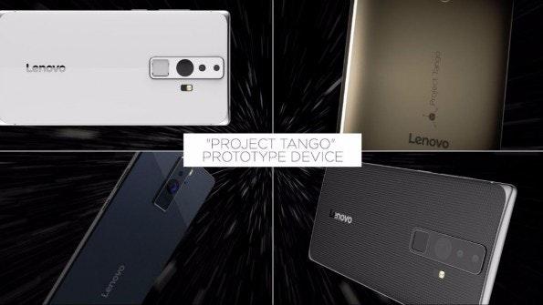 Lenovo zeigt bisher nur Prototypen seines ersten Project-Tango-Smartphones. Das finale Produkt soll weniger als 500 US-Dollar kosten. (Bild: Lenovo)