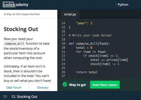 Codecademy ermöglicht das Programmieren lernen im Browser. (Screenshot: Codecademy)