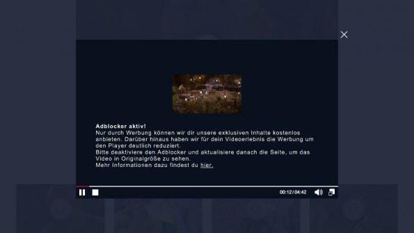 """""""Dschungelcamp""""-Videos gibt es bei aktiviertem AdBlocker nur noch im Mini-Format. (Screenshot: RTL.de)"""
