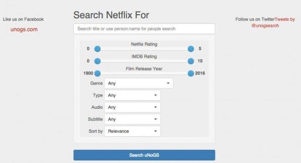 Über die Suchmaske von unogs.com lässt sich das globale Angebot von Netflix durchstöbern. (Screenshot: unogs.com)