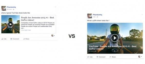 YT2FB: Dank dem kostenlosen Tool stechen eure YouTube-Videos im Facebook-Newsfeed deutlich mehr hervor. (Screenshot: yt2fb.com)