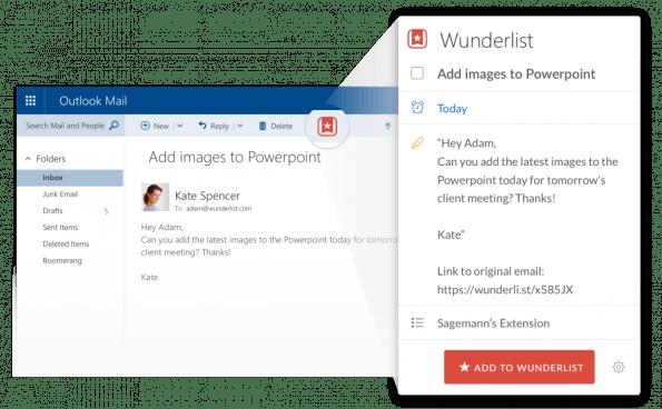So sieht die Wunderlist-Integration in Outlook aus. (Screenshot: Wunderlist)