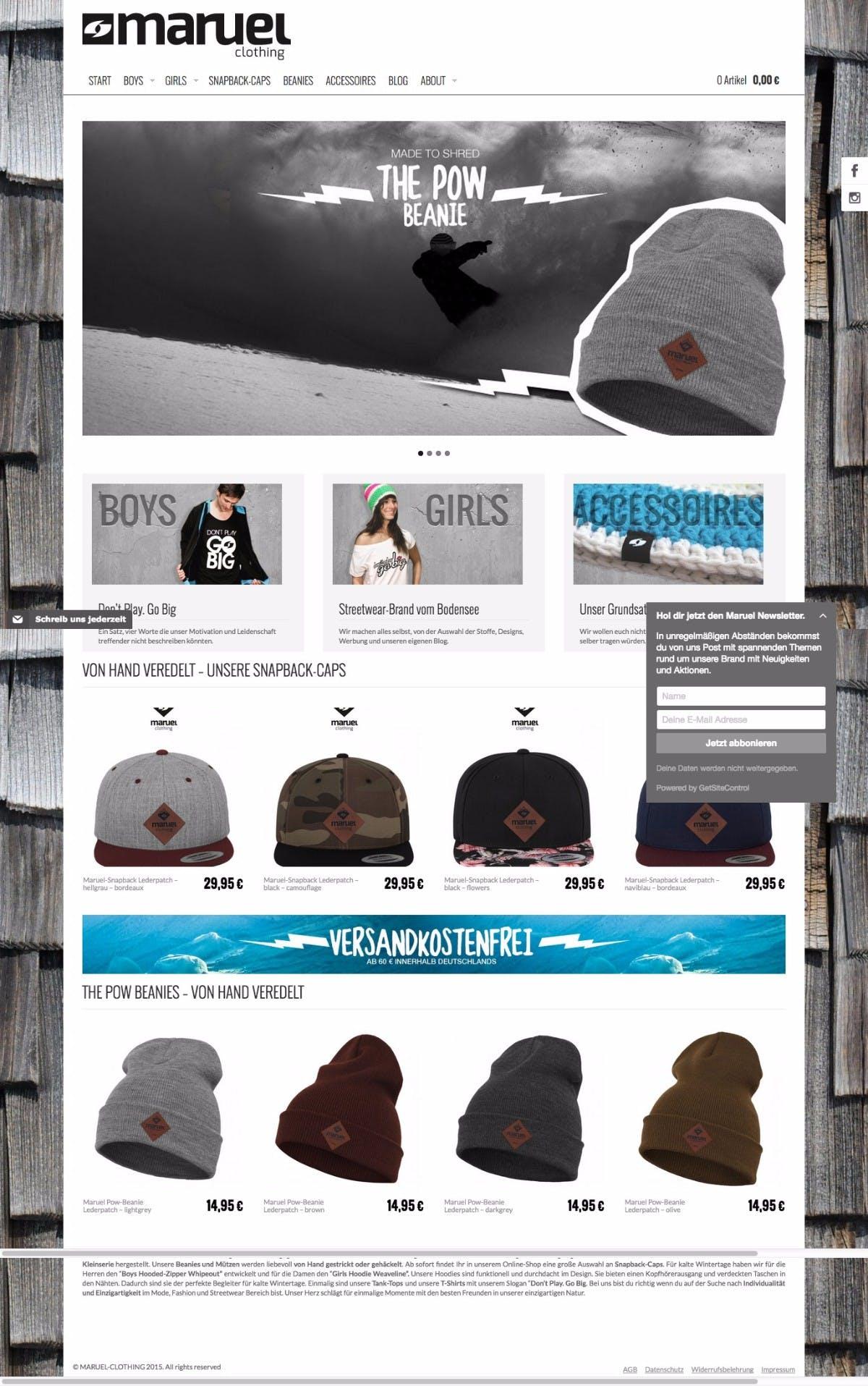 Maruel Clothing, ein Beispiel für eine Shop-Umsetzung mit Supr. (Screenshot: Maruel)