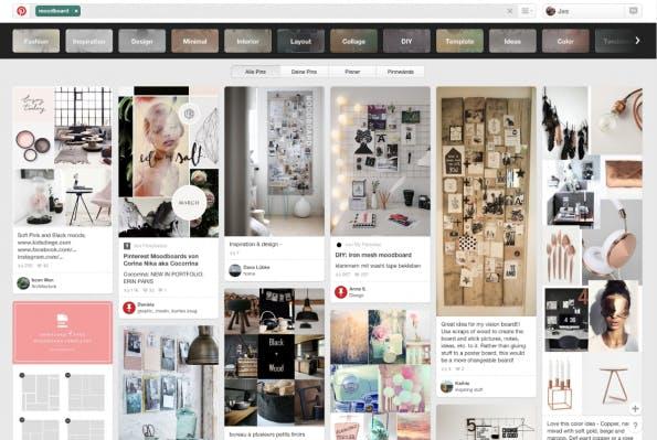 Über die Suche Inhalte einfach finden und ordnen. (Screenshot: Pinterest)