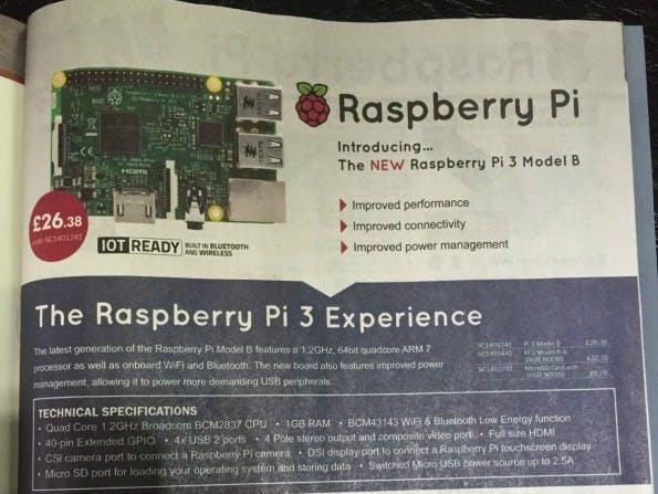 Ausschnitt aus der Anzeige für den Raspberry Pi 3 im MagPi-Magazin. (Bild: skelinton/Reddit)