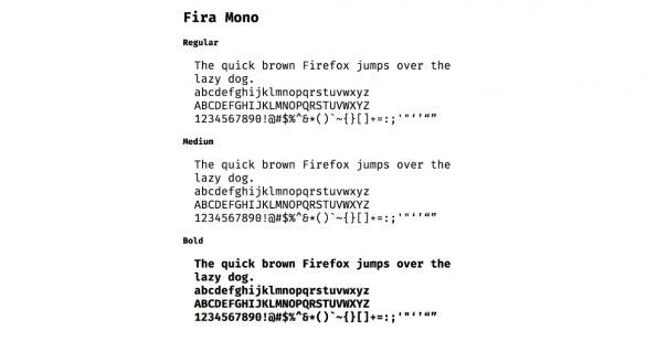 """Die Schrift """"Fira Mono"""" für Entwickler gibt es in einer regulären, einer Medium- und einer Bold-Version. (Screenshot: mozilla.github.io)"""