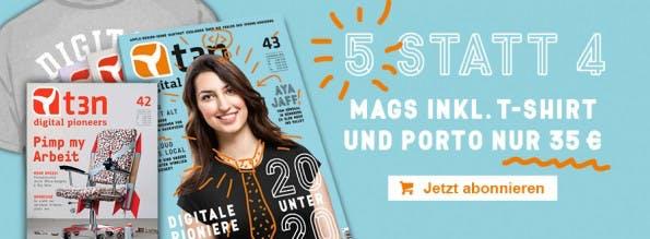 Bestellt jetzt ein Abo und erhaltet die Ausgabe 42 sowie unser Digital-Pioneers-T-Shirt gratis dazu. Die Aktion läuft noch bis zum 1. März.