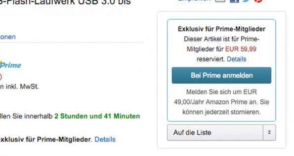 Amazon: Ohne Prime-Abo habt ihr Pech gehabt. (Screenshot: amazon.de)