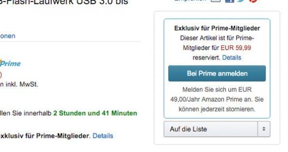 Amazon: Ohne Prime-Abo habt ihr Pech gehabt. (Screenshot: amazon.de)