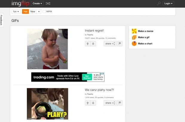 Imgflip verfügt über einen webbasierten GIF-Editor. (Screenshot: Imgflip)