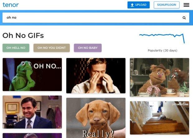 Die GIF-Suchmaschine Tenor gehört mittlerweile zu Google. (Screenshot: Tenor)