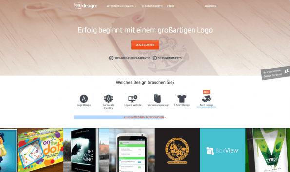Design-Crowdsourcing-Plattformen wie 99designs versprechen ein schnelles Unternehmenslogo zum günstigen Preis. (Screenshot: t3n)