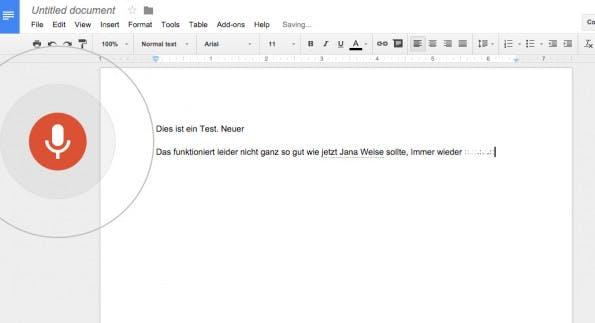Spracherkennung: Google Docs lässt euch Texte jetzt auch diktieren. (Screenshot: Google Docs)