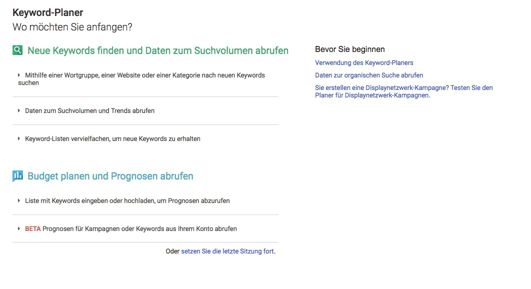 Google-Keyword-Planer ist das bekannteste Keyword-Tool. (Screenshot: google.com)