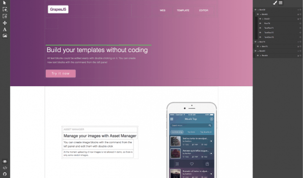 So sieht GrapeJS im Browser aus. (Screenshot: t3n)