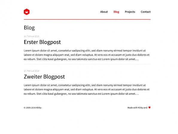 Ein einfaches Template für die Blog-Übersicht kann in wenigen Zeilen PHP realisiert werden. Screenshot: Moritz Stückler)