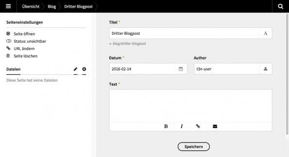 Mit einem Blueprint kann die Struktur eines Blogposts festgelegt werden.