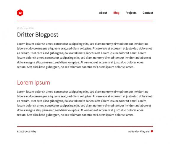 Ein einfaches Template zum Anzeigen eines Blogposts. (Screenshot: Moritz Stückler)