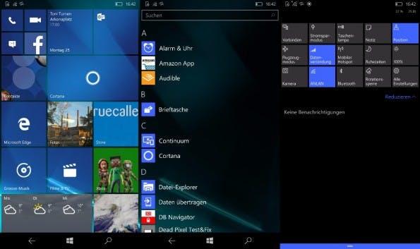 Windows 10 Mobile: Homescreen und Einstellungen sind aufgeräumter. (Screenshots: t3n)