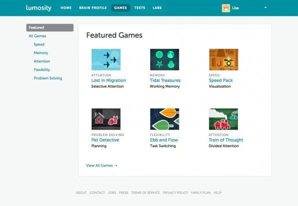 Startups für leistungsfähigere Gehirne: Lumosity bietet Games an. (Screenshot: Lumosity)