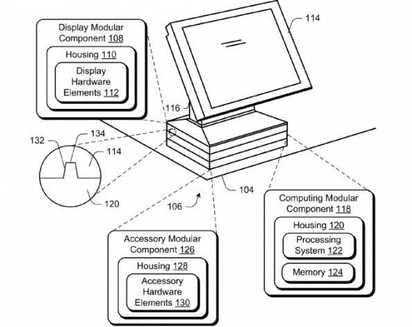 Ein modularer All-in-One-PC nach Vorstellung von Microsoft. (Grafik: Microsoft / United States Patent and Trademark Office)