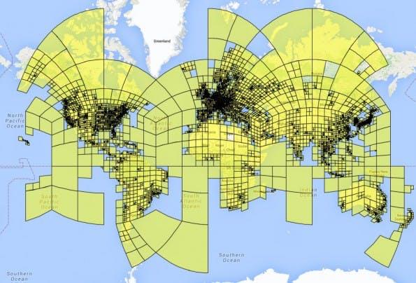 PlaNet : Die Welt wird in viele Raster unterteilt. (Screenshot: Tobias Weyand, Ilya Kostrikov, James Philbin)