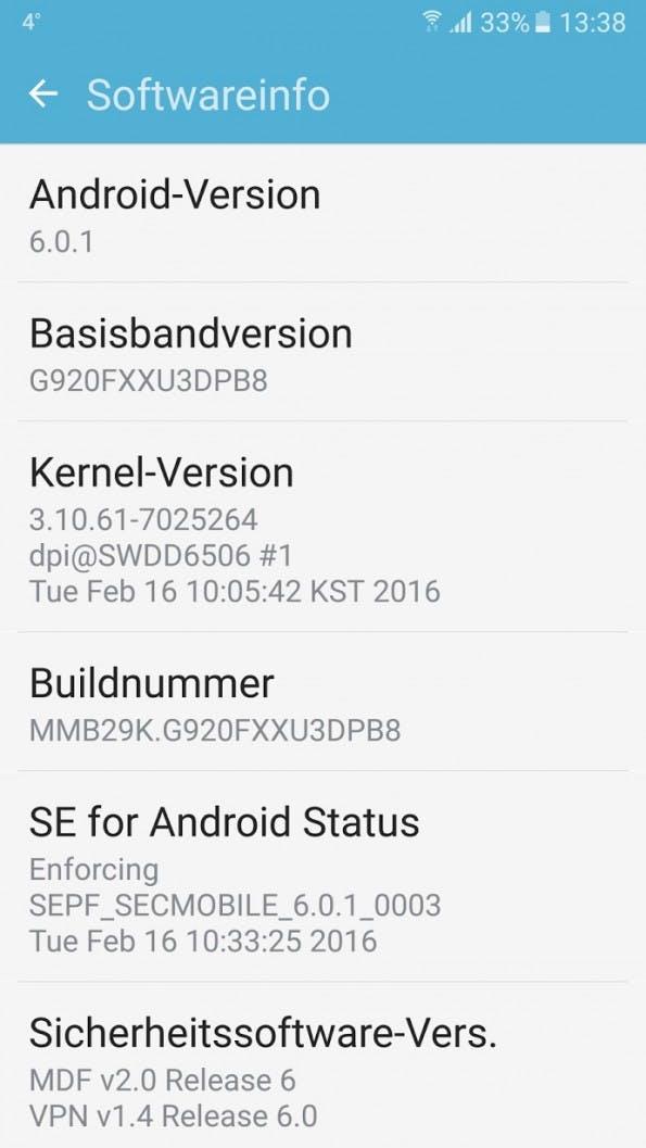 Für das Samsung Galaxy S6 gibt es ab sofort auch in Deutschland das Marshmallow-Update. (Screenshot: Sven Kloevekorn)