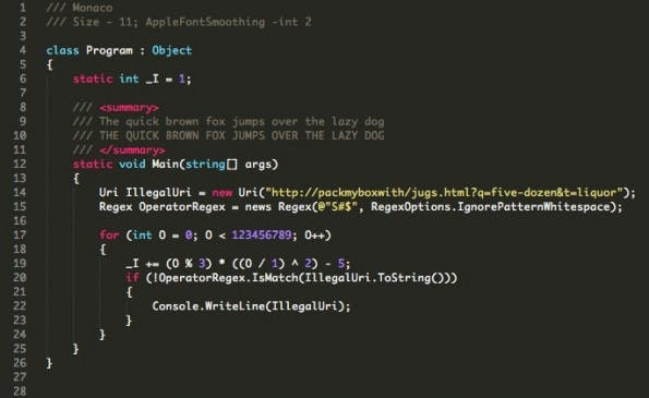 Die proprietäre Apple-Schrift Monaco richtet sich ebenfalls an Programmierer. (Screenshot: slate.co)