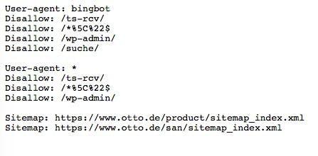 Beispiel einer robots.txt von otto.de. (Screenshot: otto.de)