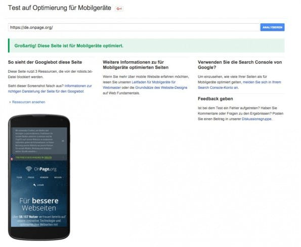 Mobile Friendliness mit dem Google-Test-Tool. (Screenshot: Google)