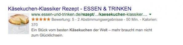 Rich Snippets in der Praxis bei essen-und-trinken.de. (Screenshot: Google)
