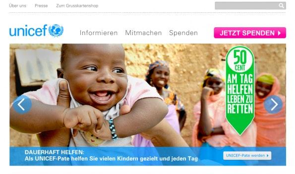 (Screenshot: Unicef.de)