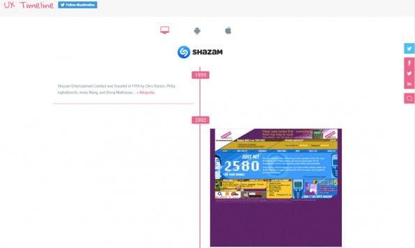UX-Zeitreise! Die erste Shazam-Webseite wurde 2002 veröffentlicht. (Screenshot: uxtimeline.com)